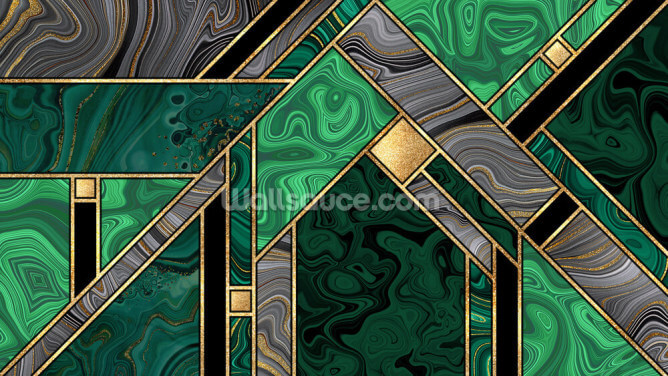 Emerald and Gold Wallpaper Wall Murals