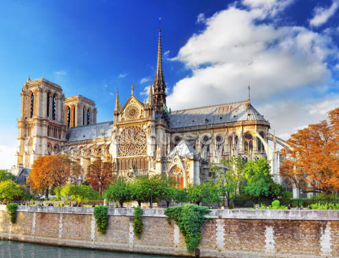 Notre Dame on a Sunny Day Wallpaper Wall Murals