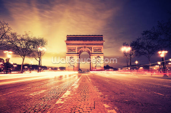 Rush Hour Arc de Triomphe at Night Wallpaper Wall Murals