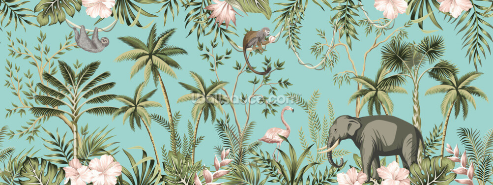 Turquoise Jungle Dreams Wallpaper Wall Murals