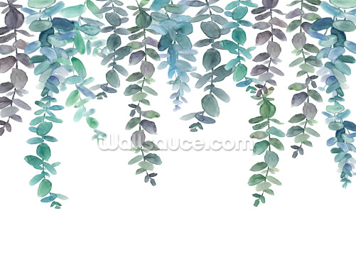 Blue & Green Hanging Eucalyptus Wallpaper Wall Murals