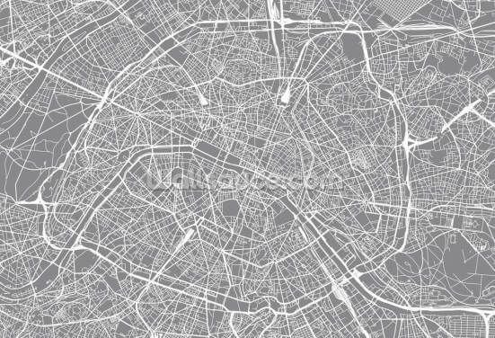 Monochrome Paris Map Wallpaper Wall Murals