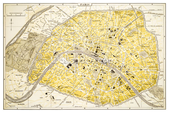Map of Paris 1894 Wallpaper Wall Murals