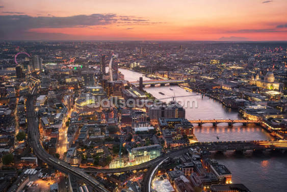 London Sunset Aerial View Wallpaper Wall Murals