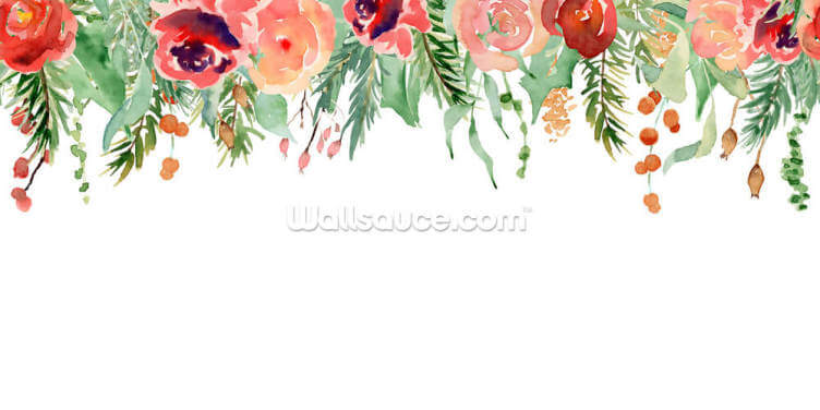 Ruby and Coral Hanging Flowers Wallpaper Wall Murals