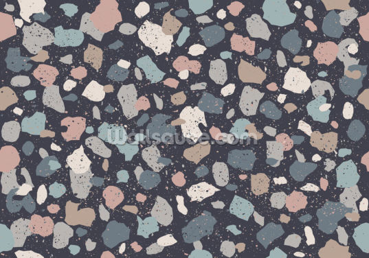 Dark Blue Terrazzo Wallpaper Wall Murals