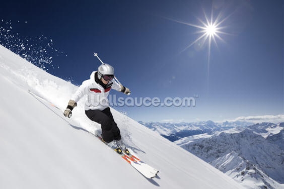 Female Skier Wallpaper Wall Murals