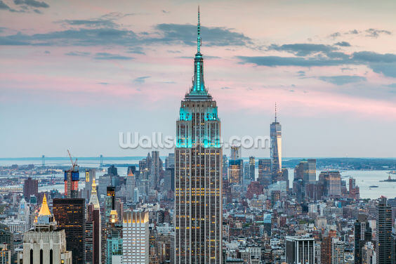 Turquoise Empire State Wallpaper Wall Murals