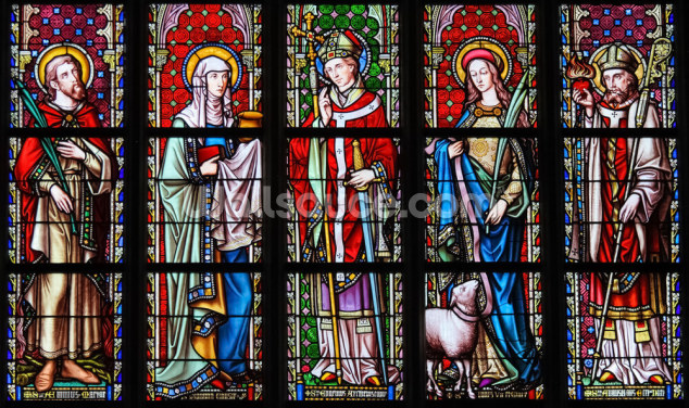 Saints Stained Glass Wallpaper Wall Murals