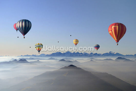 Hot Air Balloon Mountains Wallpaper Wall Murals