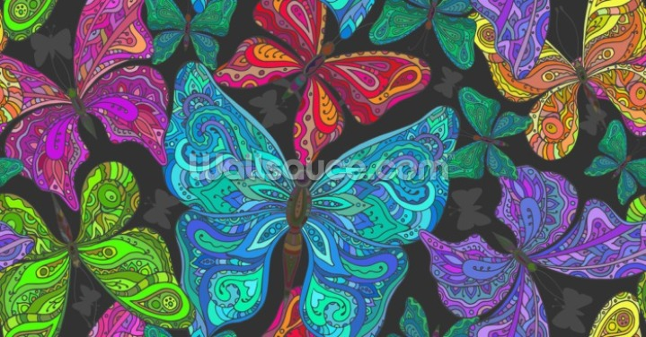 Butterfly Doodles Wallpaper Wall Murals