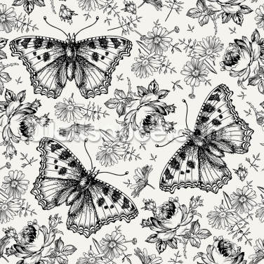 Doodled Butterflies Wallpaper Wall Murals
