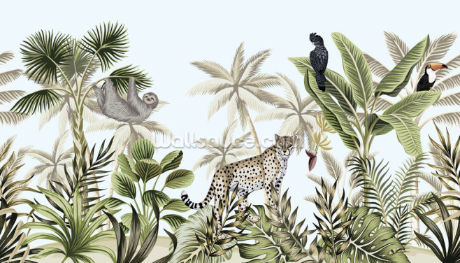 Rainforest Wildlife Wallpaper Wall Murals