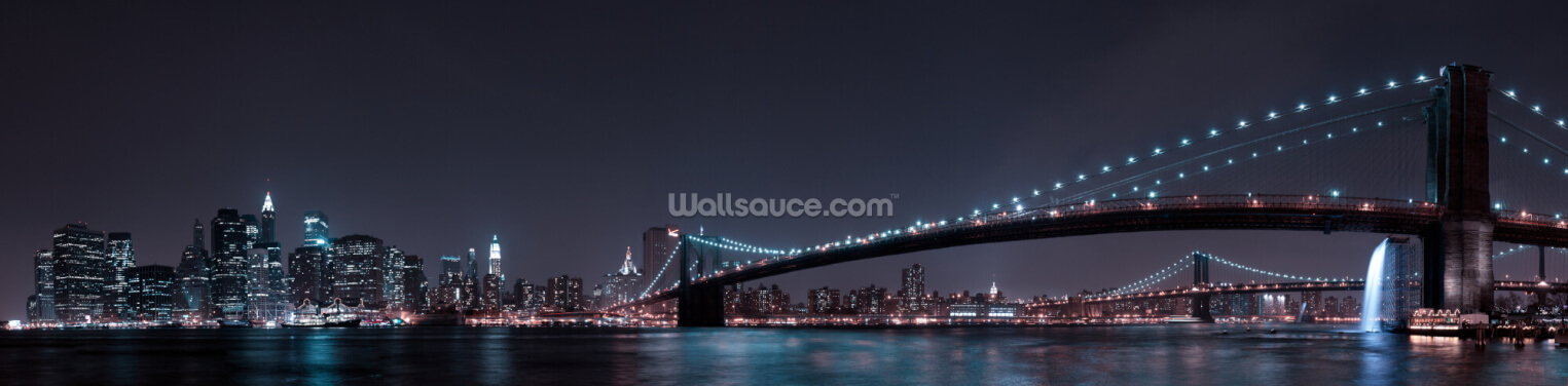 Manhattan Skyline and Brooklyn Bridge Panoramic Wallpaper Wall Murals