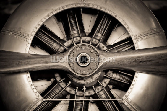 Vintage Propeller Aircraft Engine Wallpaper Wall Murals