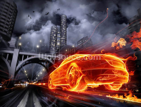 Fire Car Wallpaper Wall Murals