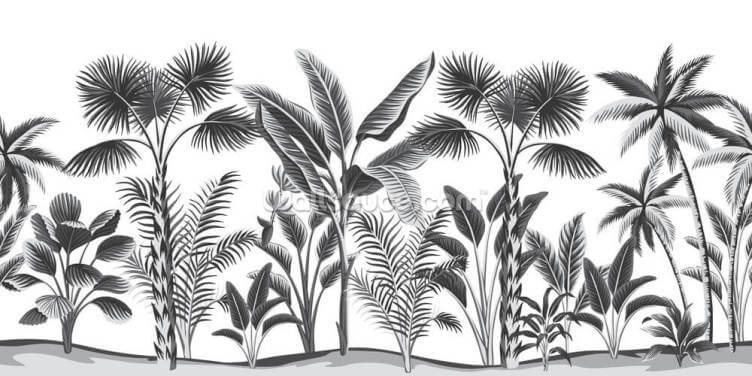 Black and White Jungle Wallpaper Wall Murals