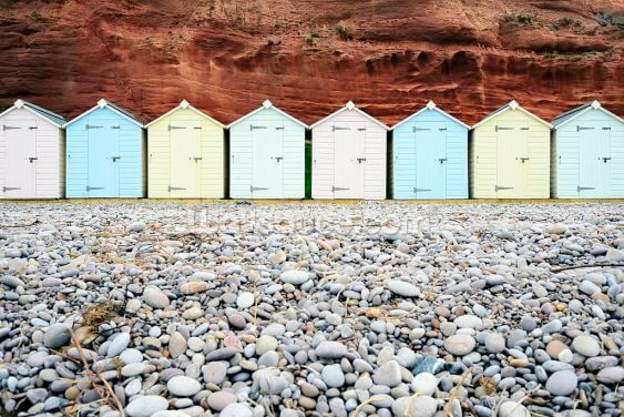 Pastel Beach Huts Wallpaper Wall Murals