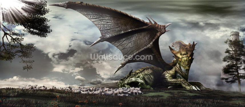 A Dragon and Its Flock Wallpaper Wall Murals