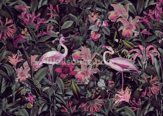 Flamingo Jungle 2 Wallpaper Wall Murals
