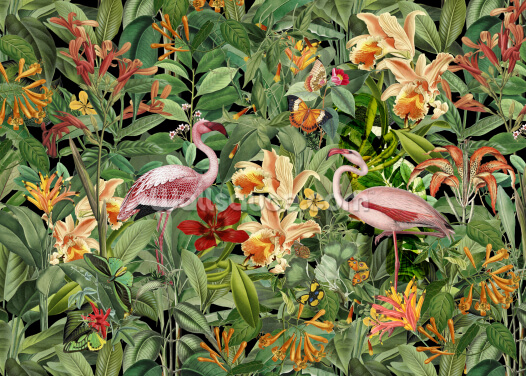 Tropical Flamingo Jungle Wallpaper Wall Murals