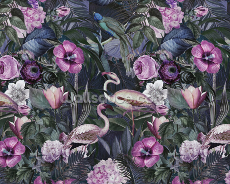 Flamingos Dark Jungle Wallpaper Wall Murals