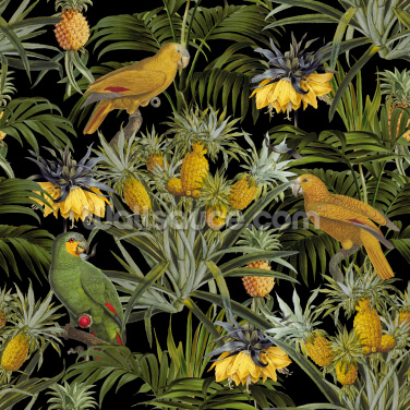Pineapple Jungle Black Wallpaper Wall Murals