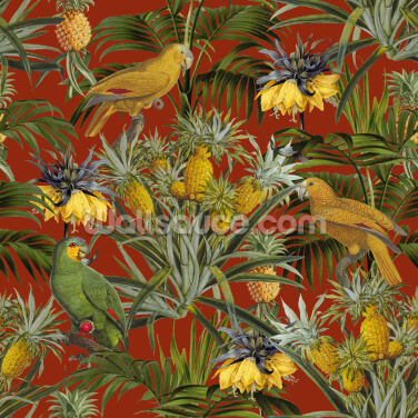 Pineapple Jungle Red Yellow Wallpaper Wall Murals