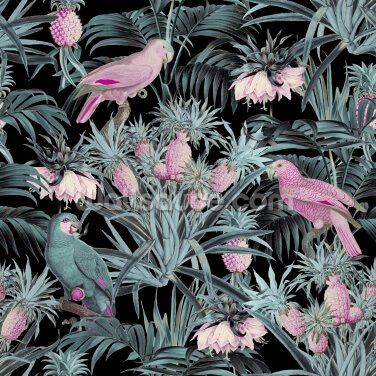 Pineapple Jungle Teal Pink Wallpaper Wall Murals