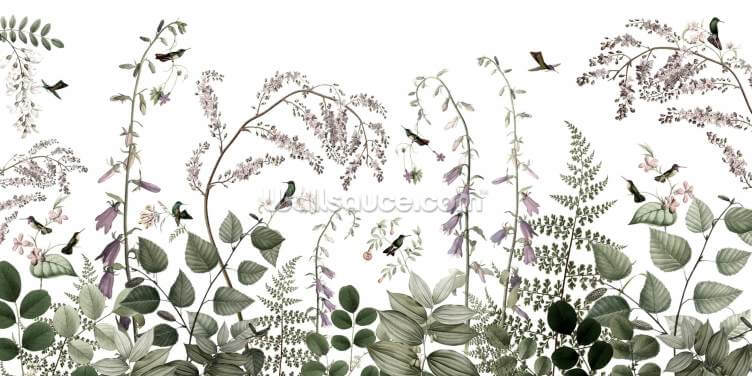 Hummingbirds Hedge Wallpaper Wall Murals