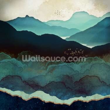 Indigo Mountains Wallpaper Wall Murals