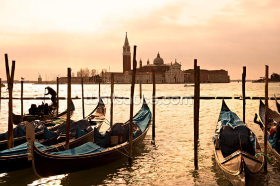 Sunset Gondolas Wallpaper Wall Murals
