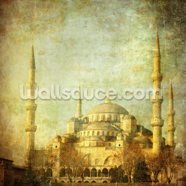 Vintage Blue Mosque, Istanbul Wallpaper Wall Murals