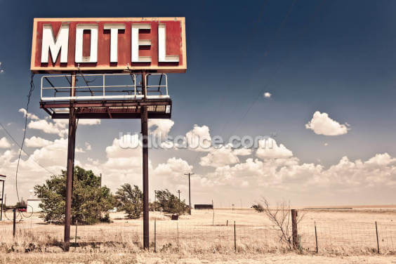 Vintage Route 66 Motel Wallpaper Wall Murals
