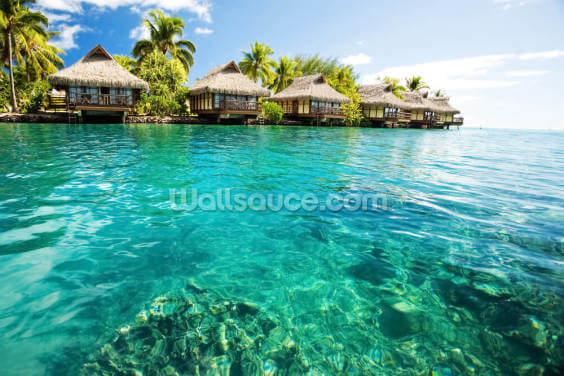 Tropical Lagoon Heaven Wallpaper Wall Murals