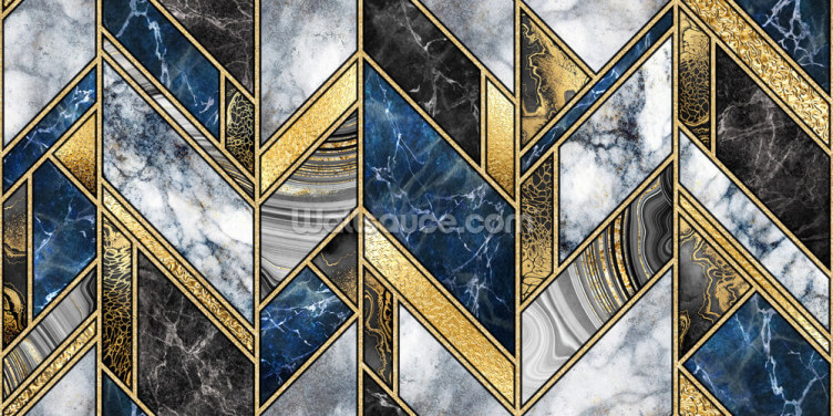 Navy and Gold Art Deco Wallpaper Wall Murals