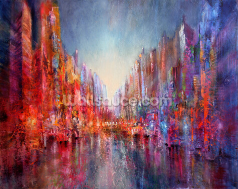 City on the River Wallpaper Wall Murals