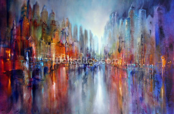 Vibrant City on the River Wallpaper Wall Murals