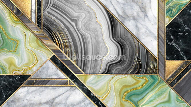 Teal and Gold Art Deco Wallpaper Wall Murals