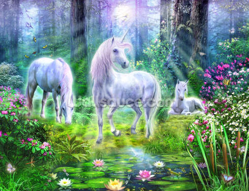 Forest Unicorn Family Wallpaper Wall Murals