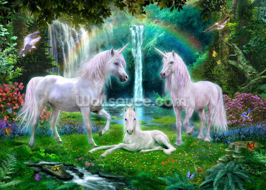 Rainbow Unicorn Family Wallpaper Wall Murals