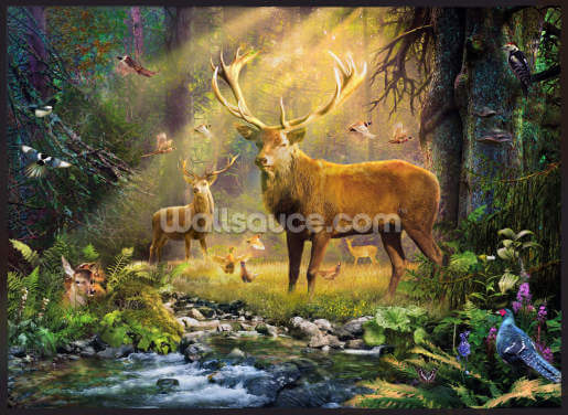 Sun Light Deers Wallpaper Wall Murals