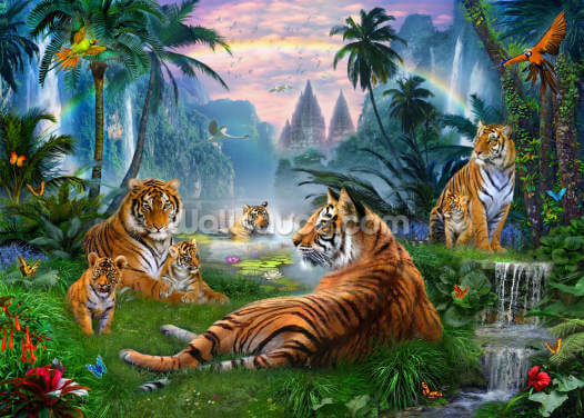 Temple Lake Tigers Wallpaper Wall Murals