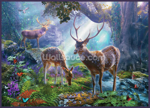 Three Deer in Forest Wallpaper Wall Murals
