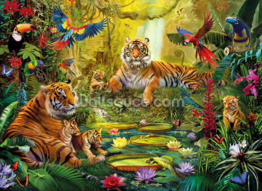 Tiger Family in the Jungle Wallpaper Wall Murals