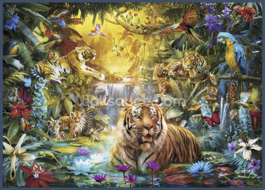Tigers and Cubs in Tropical Lagoon Wallpaper Wall Murals