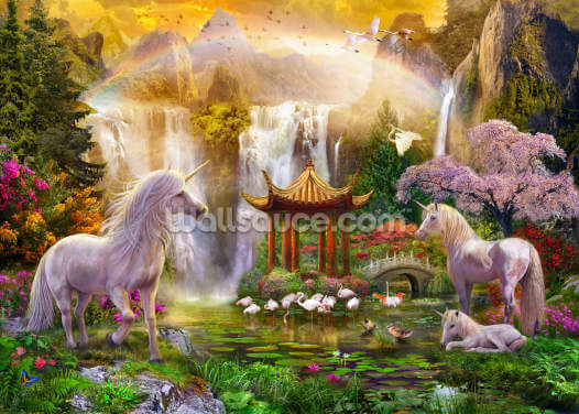 Unicorn Valley of the Waterfall Wallpaper Wall Murals