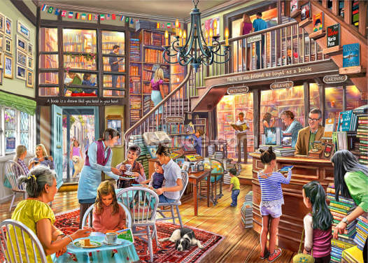 Bookshop Tearoom Wallpaper Wall Murals