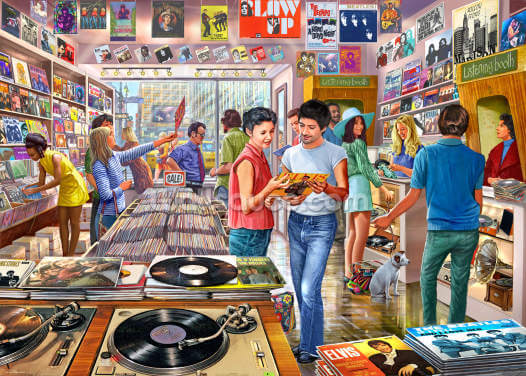 Vintage Record Store Wallpaper Wall Murals