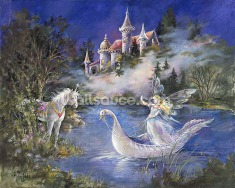 Swan Boat Wallpaper Wall Murals
